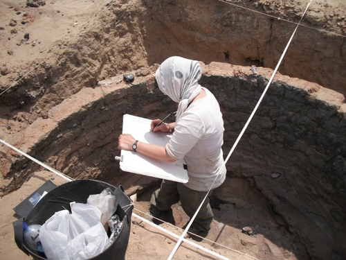 Anna Hodgkinson recording Kiln 1, half-excavated in 2010
